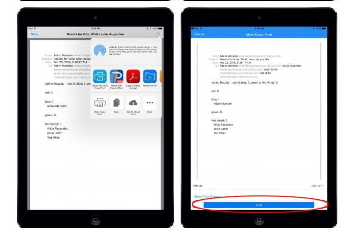 print email from ipad pro