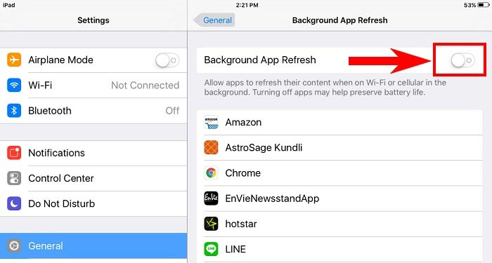 turn off apps refresh